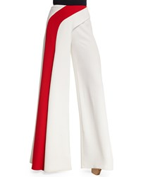 Ralph Lauren Collection Crepe Cady Single Stripe Wide Leg Pants Off White Girl's Size 0 15 Off White