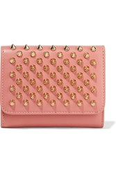 Christian Louboutin Macaron Mini Spiked Leather Wallet Antique Rose