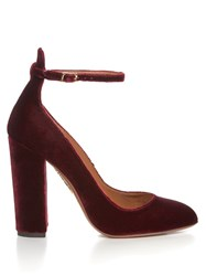 Aquazzura Alix Block Heel Velvet Pumps Dark Red