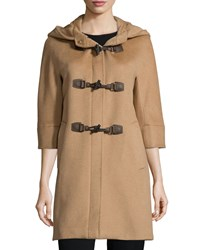 Cinzia Rocca Alpaca Blend Toggle Front Jacket Brown Camel