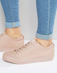 Asos Lace Up Plimsolls In Pink Pink