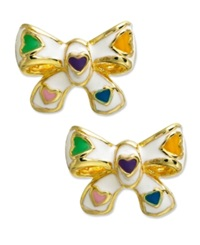 Lily Nily Children's 18K Gold Over Sterling Silver Earrings White Enamel Bow Studs