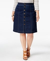 Charter Club Plus Size Tummy Control Denim A Line Skirt Only At Macy's Greenwich Wash