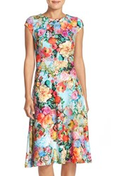 Women's Eci Floral Scuba Fit And Flare Midi Dress Light Blue
