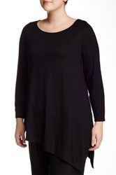 Eileen Fisher Boatneck Asymmetrical Hem Tunic Plus Size Black