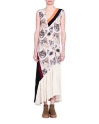 Stella Mccartney Cat Print Sleeveless Maxi Dress White Black