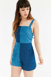 Bdg Lilou Colorblock Denim Romper Indigo