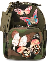 Valentino Garavani Butterfly Appliqua Backpack Green