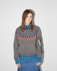 Sacai Nordic Pattern Pullover Grey Blue
