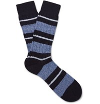 Pantherella Apsley Striped Cashere Blend Socks Navy
