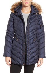 Andrew Marc New York Women's Quilted Down Jacket With Faux Fur Trim Navy