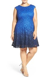 Chetta B Plus Size Women's Ombre Shimmer Lace Fit And Flare Dress Ink