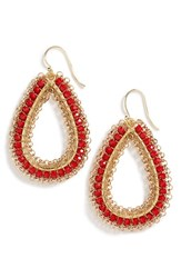 Panacea Women's Crystal Teardrop Earrings Red