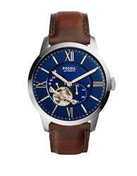 Fossil Townsman Silvertone Stainless Steel And Brown Leather Watch