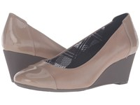 Naturalizer Necile Dover Taupe Leather Shiny Women's Wedge Shoes Brown
