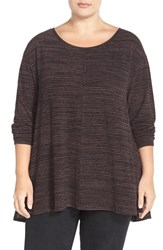Plus Size Women's Sejour Print Long Sleeve High Low Tee Black Burgundy Stripe