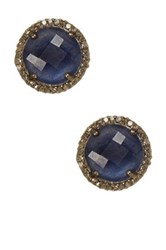Adornia Echo Champagne Diamond And Blue Sapphire Stud Earrings