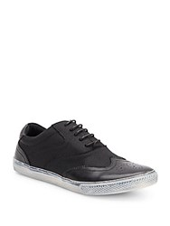 Joe's Jeans Waves Leather And Coated Canvas Wingtip Sneakers Black