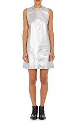 Paco Rabanne Women's Silver Paper Weight Leather Mod Dress Silver