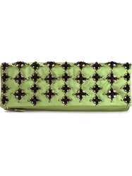 Giorgio Armani Crystal Embellished Clutch Green