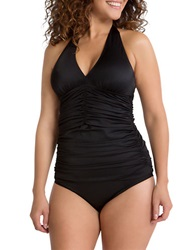 Spanx Ruched Halter Tankini Top Black