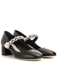 Miu Miu Crystal Embellished Patent Leather Mary Jane Pumps Black