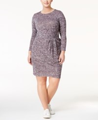 Love Squared Trendy Plus Size Twist Front Sweater Dress Plum