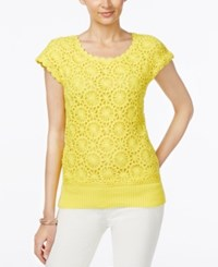 Joseph A Crochet Short Sleeve Sweater Only At Macy's Lemon Zest