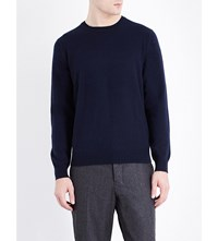 Pringle Crewneck Suede Elbow Patch Cashmere Jumper Navy