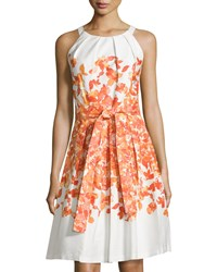 Chetta B Belted Floral Sleeveless Fit And Flare Dress White Tangerine