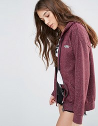 Vans Red Marl Zip Through Hoodie With Small Logo Red Marl