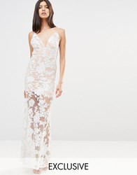 Club L Cami Strap Floral Sequin Fishtail Backless Maxi Dress Nude Cream