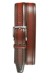 Allen Edmonds 'Manistee' Brogue Leather Belt Dark Chili
