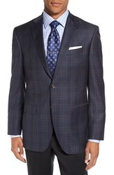 David Donahue Men's 'Connor' Classic Fit Plaid Wool Sport Coat Navy