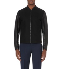 Sandro Contrast Sleeve Wool Blend And Leather Jacket Black