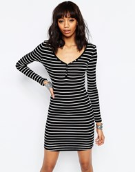 Brave Soul Long Sleeve Jersey Striped Dress With Button Front Black Cream