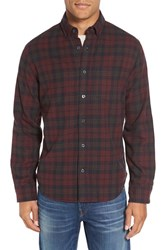 Relwen Men's Double Faced Plaid Flannel Shirt Burgundy Blanket