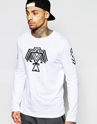 Asos Longline Long Sleeve T Shirt With Aztec Embroidery White