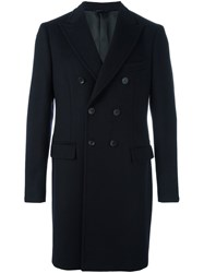 Tonello Peak Lapel Coat Blue
