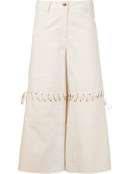 Rosie Assoulin Lace Detail Culottes Nude And Neutrals
