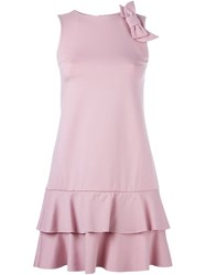 Red Valentino Bow Detail Layered Dress Pink And Purple