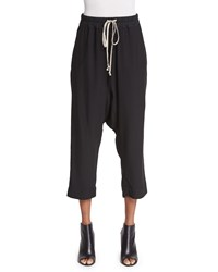 Rick Owens Drawstring Waist Cropped Harem Pants Black Women's