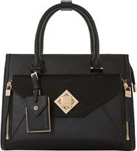 Dune Deevva Removable Clutch Tote Bag Black Plain Synthetic