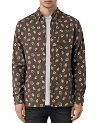 Allsaints Wieppe Slim Fit Button Down Shirt Umber