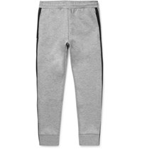 Theory Runnor Slim Fit Tapered Contrast Trimmed Bonded Jersey Sweatpants Gray