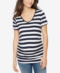 A Pea In The Pod Maternity Striped V Neck Tee Navy White