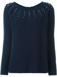 Twin Set Embellished Neck Jumper Blue