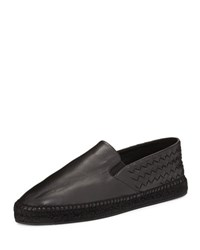 Bottega Veneta Men's Leather Intrecciato Espadrille Flat Black