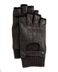 John Varvatos Wool Lined Leather Fingerless Gloves Black