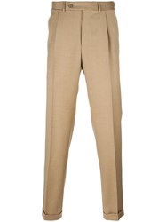 Canali Pleated Tapered Trousers Nude Neutrals